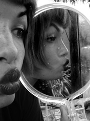 3de5 (Hawkeye_Pippi (Melissa Eve/frecklemunster)) Tags: bw selfportrait reflection smile vintage mirror faces lips sideview pucker selfshot