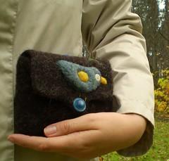 Herbert the bird felted purse (HandmadebyMia) Tags: wool handmade sew felt knitted reused