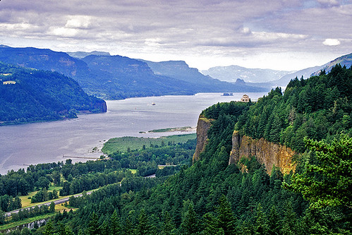 Vista House overlooks the Columbia River, Oregon