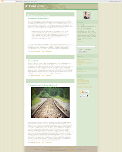 Forest green blogger template