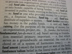 Fundraising in the dictionary