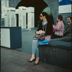 Thank you stranger #3 (Society Works) Tags: woman 120 6x6 film mediumformat sitting artgallery candid relaxing australia melbourne stkildaroad ngv hasselblad501cm kodakektachromee100vs  societyworks carlzeissplanar80mmf28cfe