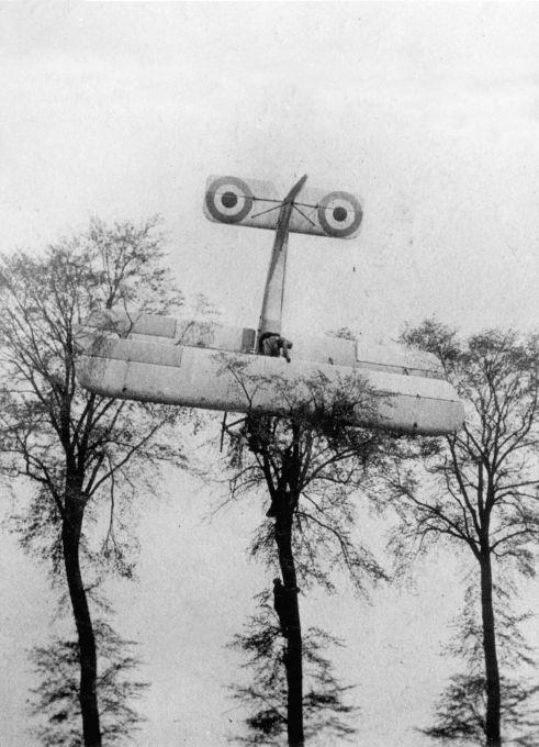 First World War, Belgium. A French pilot makes a forced landing on its own ground after a failed attack on German Zeppelin  in Brussels, 1915. The plane, a biplane, stays the trees now. Soldiers are climbing the tree.