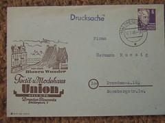 Union Textile and Fashion House, Dresden 1949 (sludgegulper) Tags: dresden ddr mode industrie gdr textil blaues veb briefmarken umschlag wunder blasewitz postgeschichte