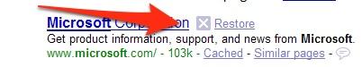 SearchWiki Remove Result