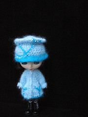 Blue Blossom sweater coat and 'accident' hat
