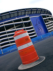 Shea Demolition (Ryan Christopher VanWilliams - NYC) Tags: nyc newyorkcity blue urban orange white ny classic texture beer modern brooklyn digital photoshop vintage construction williams baseball cone stadium bronx manhattan demolition queens corona giants gothamist cyclones goodbye 2008 mets shea ballpark staten 1964 worldseries urbanlandscape sheastadium citi flushing amazin vanwilliams williamasheamunicipalstadium rvw citifield rcvw ryanchristophervanwillams