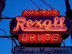 An old neon Rexall Drug Store sign from decades ago. Chicago Illinois. January 2007.