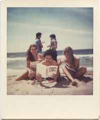 Rich Studying (wiseacre) Tags: california beach me dave pose rich fake josh study tania poloroid