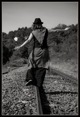..:: Echappée ::.. (Yoggibat) Tags: blackandwhite white black hat girlfriend noir noiretblanc rail chapeau hippie blanc copine limousin hautevienne babacool voieferrée choups lasériedusamedi rilhacrancon