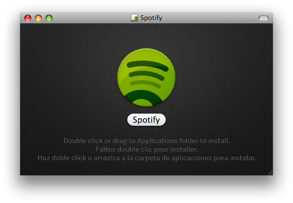 Screenshot of the new Spotify disk image while mounted