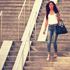 Stairwaytoheaven (Kim Ledin) Tags: street summer girl beautiful stairs sweden stockholm top sandals candid jeans brunette handbag