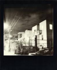 Cypress Night (Abe Bingham) Tags: sanfrancisco bw film night polaroid sx70 alley district uv tip mission instant sonar impossible blackframe px600