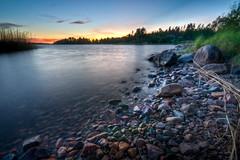 Small rocks (- David Olsson -) Tags: trees sunset lake water evening nikon rocks sundown sweden dusk stones tripod sigma 1020mm polarizer hdr vnern cpl vrmland polarizingfilter photomatix vse d5000 davidolsson mjviksudd