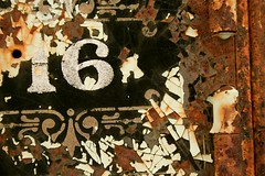 Number 16 with Rust (MaureenShaughnessy) Tags: decorative 16 peelingpaint ornamental quarry ruraldecay inmyneighborhood rustycrusty helenamontana oldletterboxes wedontmakeeverydayobjectslikethisanymoreeventhemundaneletterboxeswerebeautifulthen