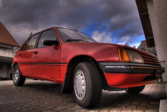 RocknRoll (limando) Tags: old blue red sky cloud car switzerland outdoor gt hdr peugeot 205 photomatix overtheexcellence limando