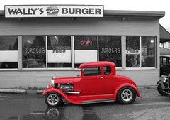 Hot Rod Farewell #14 (SqueakyMarmot) Tags: red urban cars vancouver vintage restaurant drivein vanishing neighbourhood kingsway hotrods colourcutout colouraccent wallysburgers renfrewcollingwood lastdrivein