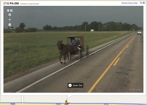 Amish horse & buggy in Google Street View