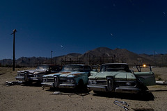 The Three Ed's (Lost America) Tags: lightpainting ford abandoned car night edsel fullmoon junkyard 1959 highway395 nocturnes pearsonville