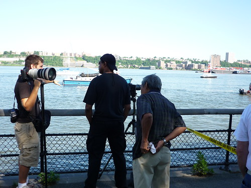 Reporters and Police in Riverside Park, New York City