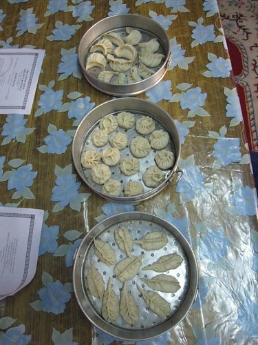 3 types of momos ready for a steambath