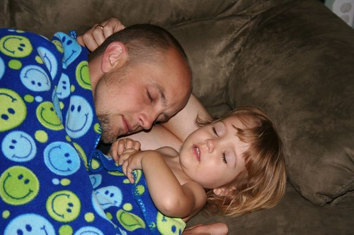 "playing ""night night"" with Daddy"