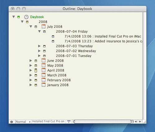 Tinderbox Daybook