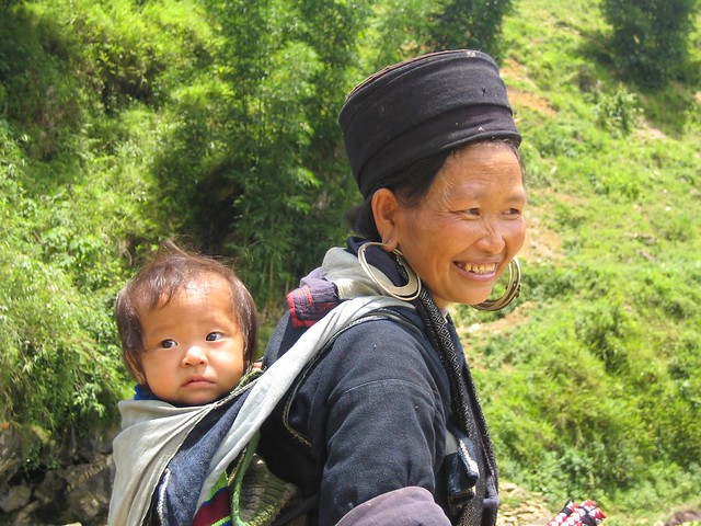 Sapa women with baby on back