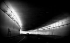 Blue Tunnel bw (downing.amanda) Tags: road trip blue ohio bw white black car june tunnel 2007 utata:color=black utata:project=uplandscape utata:project=tw63