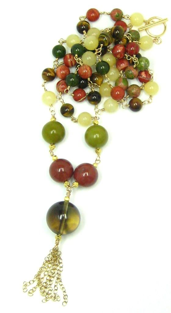 Long Link Gemstone Necklace