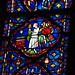 Saint-Chapelle: kaplica górna: fragment witrażu z XIII w. : na prawo od wejscia / historia Relikwii Męki Pańskiej