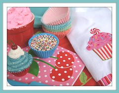 baking inspiration (Pinks & Needles (used to be Gigi & Big Red)) Tags: rainbow cherries explore polkadots cupcake sprinkles notepad teatowel pinkfrosting cupcakeliners gigiminor fauxdough