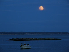 Lunar eclipse (Eva the Weaver) Tags: sea moon dark gteborg blurry view sweden gothenburg struggle archipelago lunareclipse vrng gothenburgphotowalks