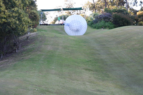 ZORB sphere, extreme sports. A ZORB rolling down a grassy hill