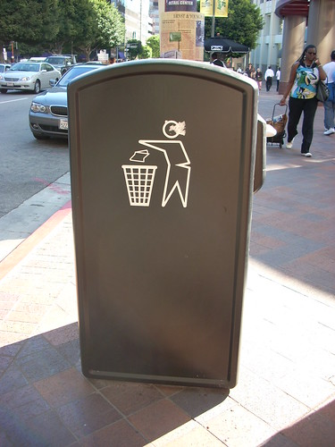 Solar-powered trash contaner, downtown Los Angeles