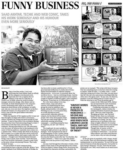 Busines Standard article on Fly You Fools - An indian web comic