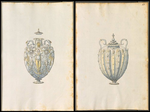 two decorative ceremonial vase designs
