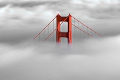 Golden Gate Bridge North Tower (--Mark--) Tags: sanfrancisco california fog goldengatebridge marinheadlands ef2470mmf28lusm  canon30d slackerhill