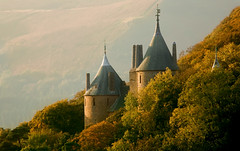 Castell Coch - Autumn Colour (wentloog) Tags: uk autumn shadow red sun mountain tree castle fall leaves wales canon woodland landscape eos leaf interestingness gallery britain hill cymru cardiff explore caerdydd 5d wfc castellcoch canoneos5d 100400 wentloog welshflickrcymru stevegarrington ef100400f45l