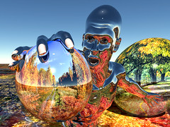 Reflecting My World (ViaMoi) Tags: autumn canada art fall colors leaves digital photoshop design leaf 3d model colours reflect chrome ottawacanada mywinners abigfave colorphotoaward viamoi rubyphotographer northernautumn