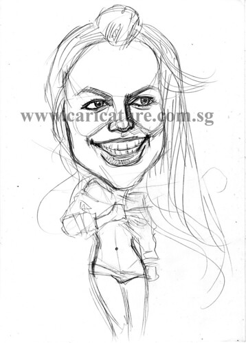 Celebrity caricatures - Britney Spears pencil sketch watermark