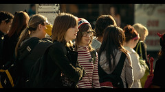 """I found """"Waldo!"""" (Dom Cruz) Tags: street girls people ontario canada fall halloween hat canon glasses costume downtown bokeh candid stripes crowd guelph streetphotography guys backpack cinematic waldo devilhorns october31 canonef70200mmf4lusm 40d canoneos40d"""