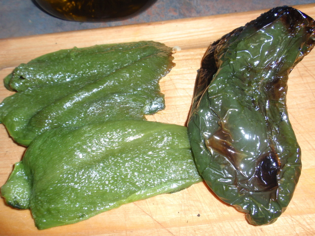 roast the poblano pepper, deseed, and peel
