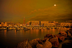 1241-221107 Le Havre (sea side) by night (Rolye) Tags: sea panorama france church night photoshop boats photo vi