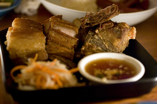 Deep–fried pork belly lechon kawali with atchara