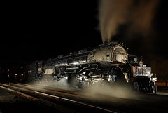 Union Pacific # 4012 (searchlight557) Tags: old nightphotography railroad night train geotagged big nikon historic steam 1940s unionpacific powerful bigboy steamtown steamlocomotive alco 4012