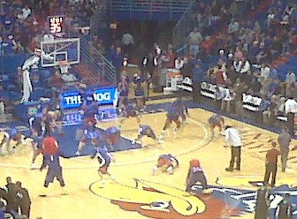 At the KU bball game with @kylejarcher