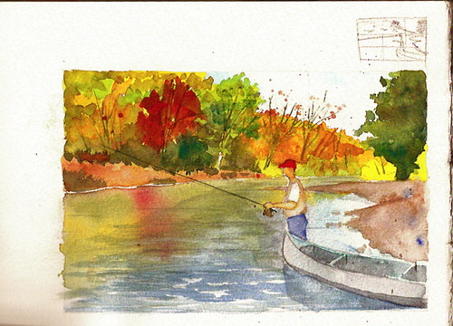 Watercolor Sketch - Fishing the Meramec