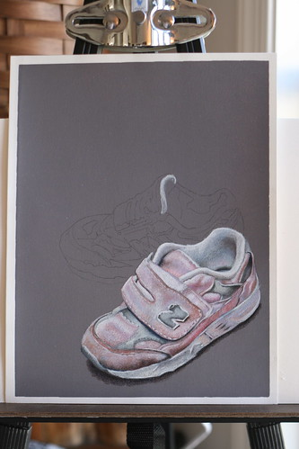 Photo of in progress drawing entitled Pink Sneakers.