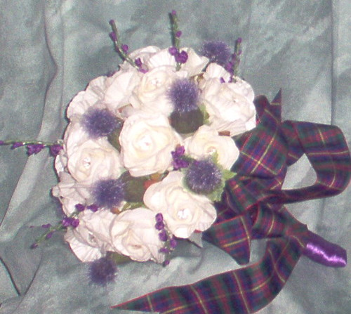 """cheryl"" brides posy of roses/thistles/heather by you."